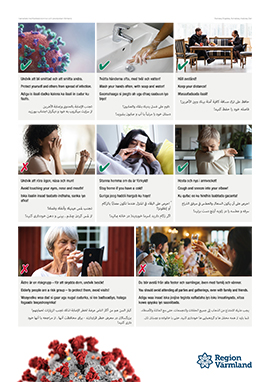Poster with information about the coronavirus in Swedish, English, Somali, Arabic and Dari