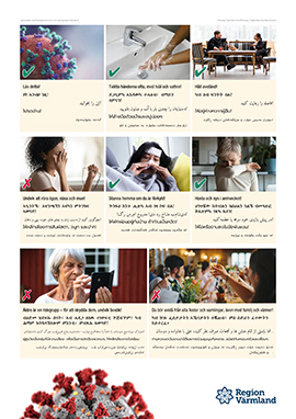 Poster with information about the coronavirus in Swedish, Tigrinya, Farsi, Persian, Thai and Kurdish
